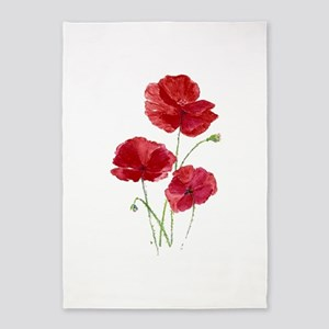Watercolor Red Poppy Garden Flower 5'x7'ar