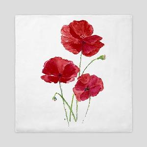 Watercolor Red Poppy Garden Flower Queen Duvet