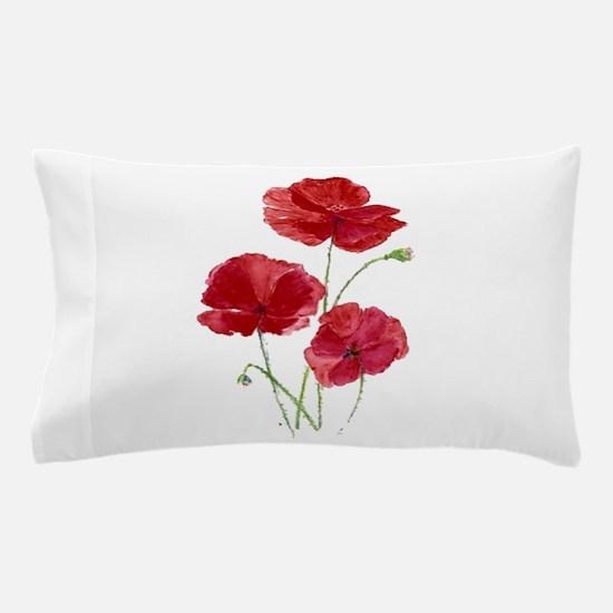 Watercolor Red Poppy Garden Flower Pillow Case