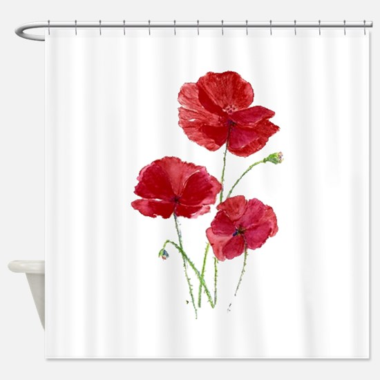 Watercolor Red Poppy Garden Flower Shower Curtain