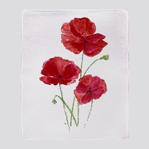 Watercolor Red Poppy Garden Flower Throw Blanket