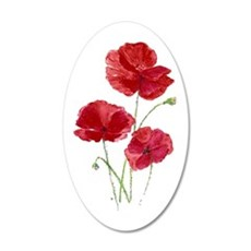 Watercolor Red Poppy Garden Wall Decal