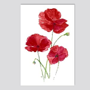Watercolor Red Poppy Postcards (package Of 8)