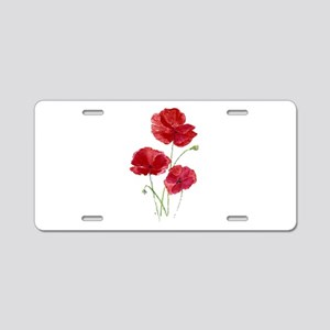 Watercolor Red Poppy Garden Flower Aluminum Licens