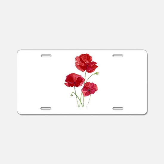 Watercolor Red Poppy Garden Flower Aluminum Licens