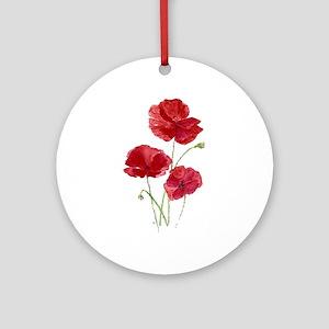 Watercolor Red Poppy Garden Ornament (round)