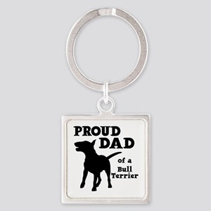 BULL TERRIER DAD Square Keychain