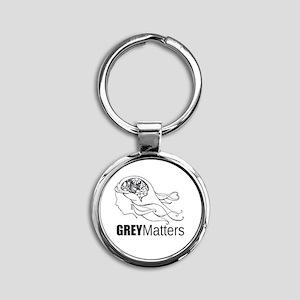 Grey Matters  Round Keychain