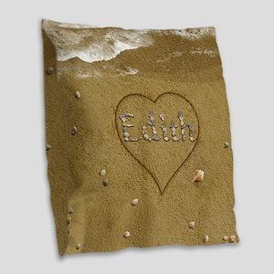 Edith Beach Love Burlap Throw Pillow
