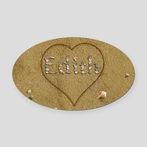 Edith Beach Love Oval Car Magnet