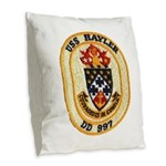 USS HAYLER Burlap Throw Pillow