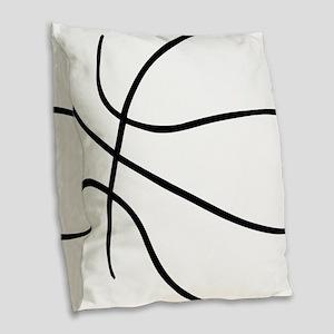 Basketball Ball Lines Black Burlap Throw Pillow