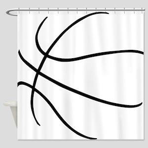 Basketball Ball Lines Black Shower Curtain