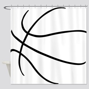Basketball Ball Lines Black Shower Curtain