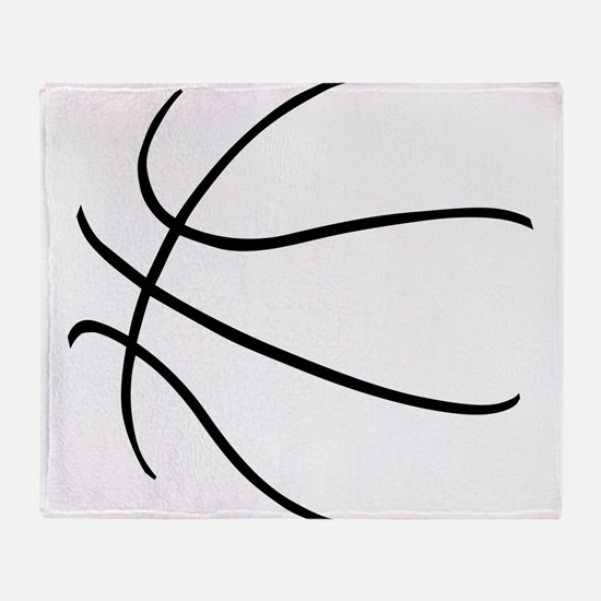 Basketball Ball Lines Black Throw Blanket