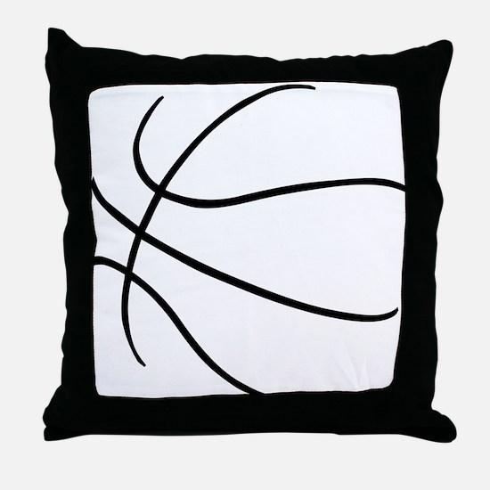 Basketball Ball Lines Black Throw Pillow
