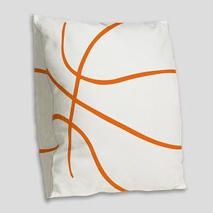 Basketball Ball Lines Orange Burlap Throw Pillow