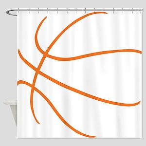 Basketball Ball Lines Orange Shower Curtain