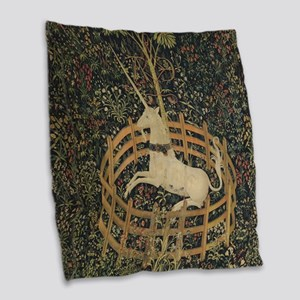 Unicorn Captured Burlap Throw Pillow