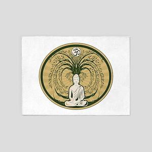 Buddha and the Bodhi Tree 5'x7'Area Rug