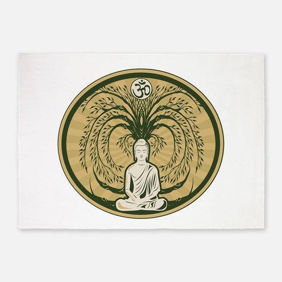 Buddha and the Bodhi Tree 5'x7'Area Rug