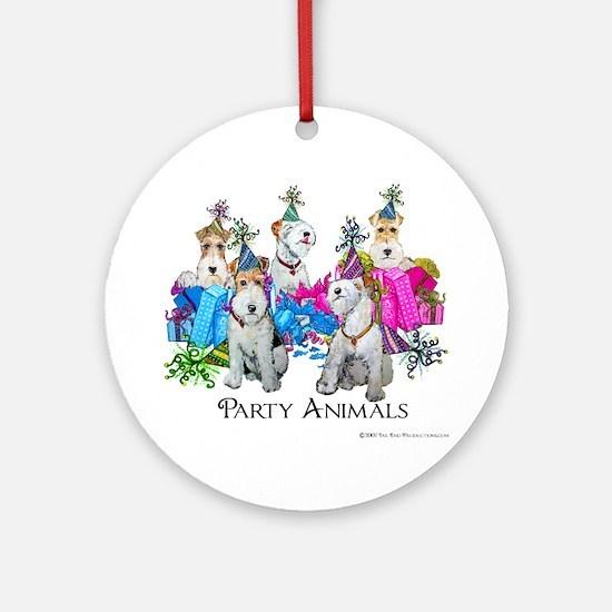 Fox Terrier Party Animals Ornament (Round)