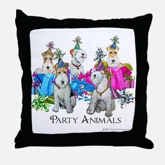 Fox Terrier Party Animals Throw Pillow