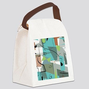 Mid-Century Modern Abstract Canvas Lunch Bag