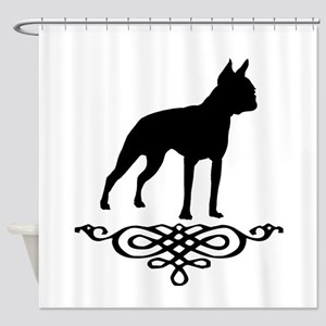 Boston Terrier Flourish Shower Curtain