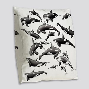 Orca Burlap Throw Pillow