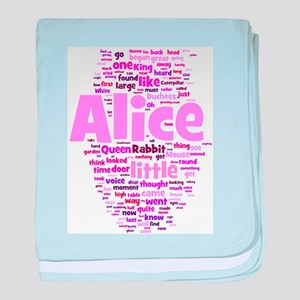 Alice in Wonderland Word Art baby blanket