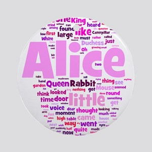 Alice in Wonderland Word Art Ornament (Round)