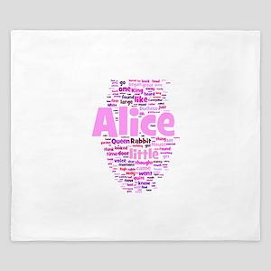 Alice in Wonderland Word Art King Duvet