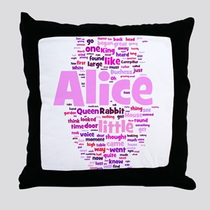 Alice in Wonderland Word Art Throw Pillow
