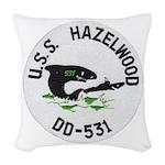 USS HAZELWOOD Woven Throw Pillow
