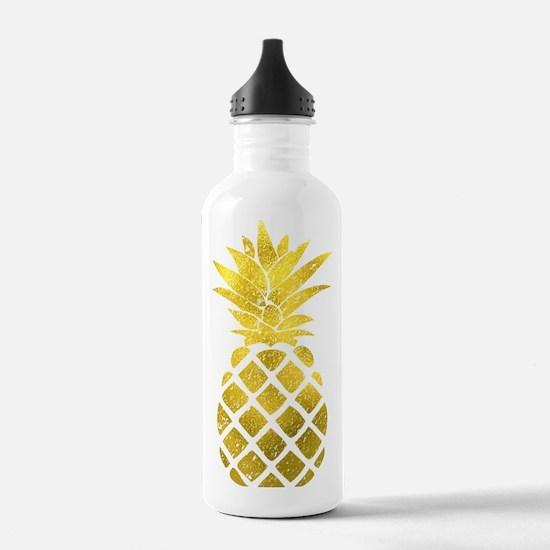 Faux Gold Foil Pineapp Water Bottle