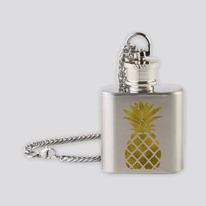 Faux Gold Foil Pineapple  Flask Necklace
