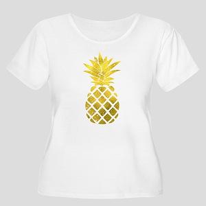 Faux Gold Foil Pineapple Plus Size T-Shirt