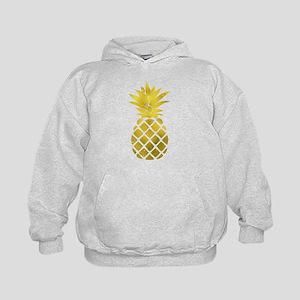 Faux Gold Foil Pineapple Kids Hoodie