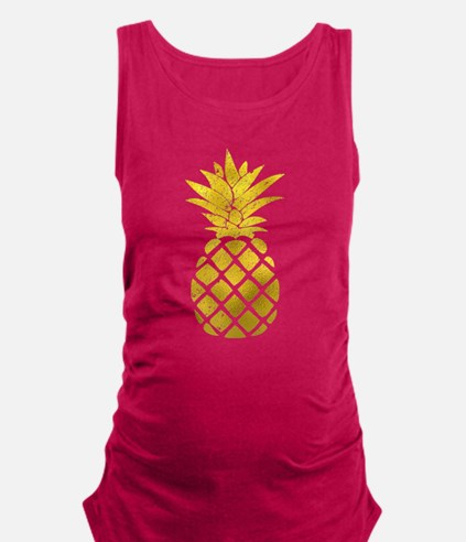 Faux Gold Foil Pineapple Maternity Tank Top