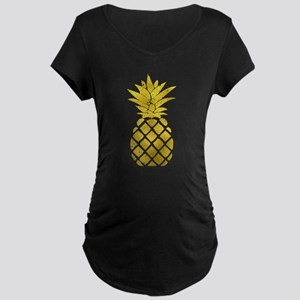 Faux Gold Foil Pineapple Maternity T-Shirt