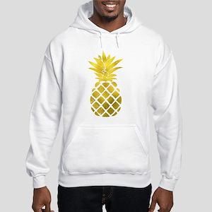 Faux Gold Foil Pineapple Hooded Sweatshirt
