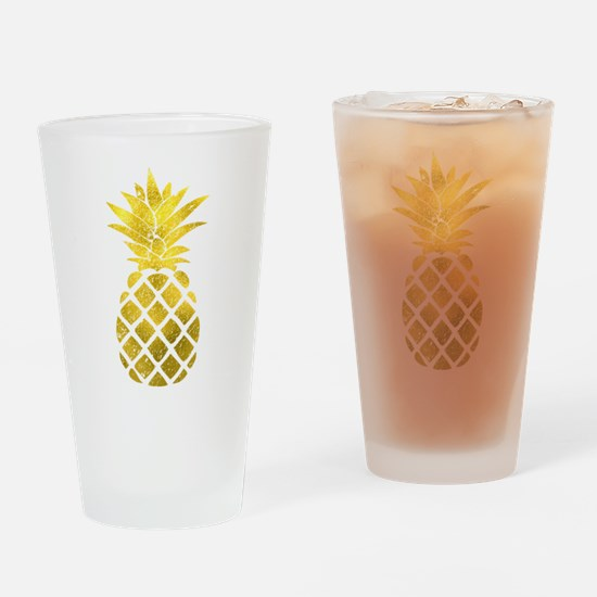 Faux Gold Foil Pineapple Drinking Glass