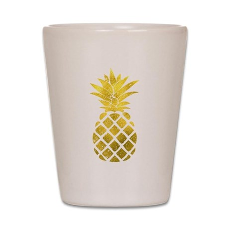 Faux Gold Foil Pineapple Shot Glass