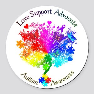 Autism Spectrum Tree Round Car Magnet