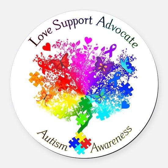Autism Spectrum Tree Round Car Magnet
