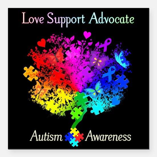 """Autism Spectrum Tree Square Car Magnet 3"""" x 3"""""""