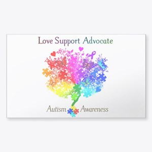 Autism Spectrum Tree Sticker (Rectangle)