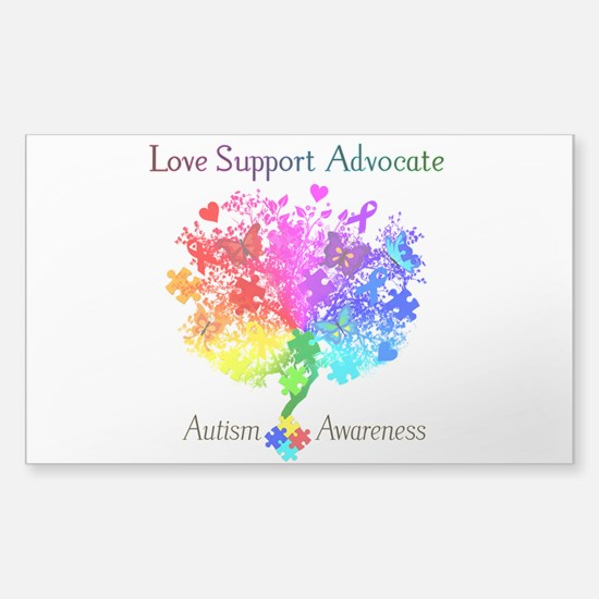 Autism Spectrum Tree Sticker (Rectangle)