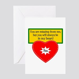 Missing From Me Greeting Cards